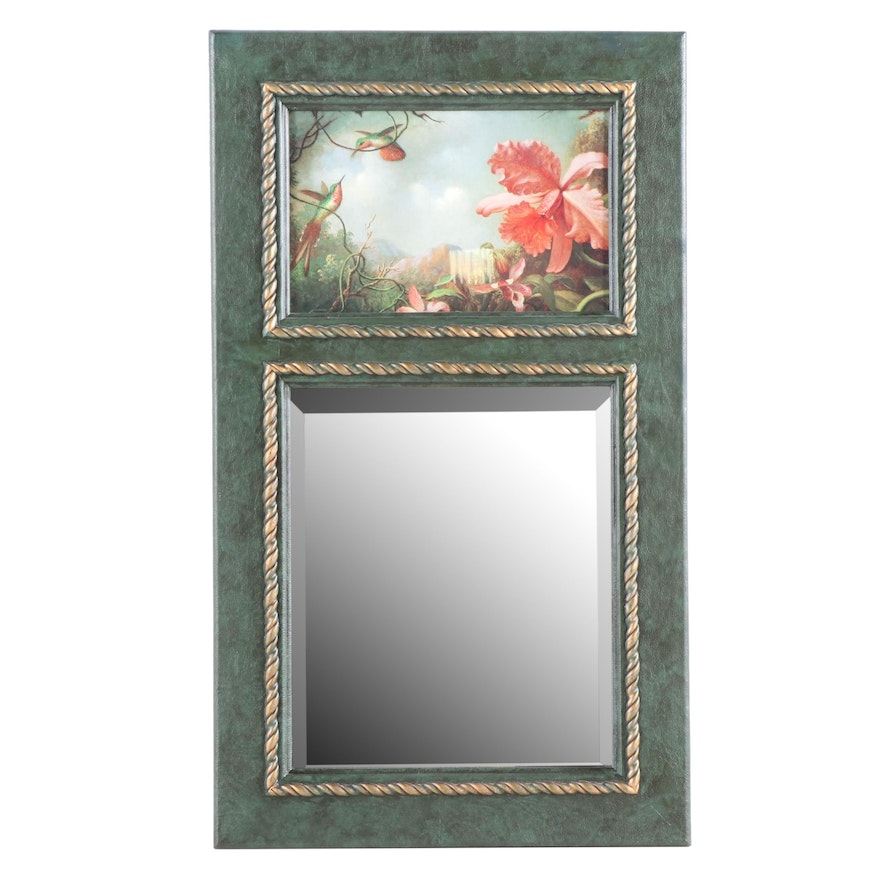 Trumeau Style Wall Mirror with Hummingbird Offset Lithograph