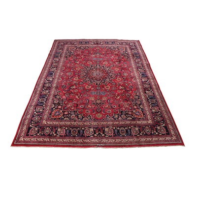 Hand-Knotted Persian Signed Qum Rug, Circa 1940