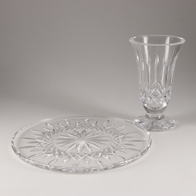 """Waterford """"Lismore"""" Vase and Cake Plate"""