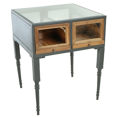"""Industrial Style """"Savile Row"""" Metal and Pine Shop Case"""