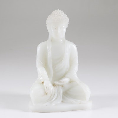 Chinese Carved White Jade Buddha Sculpture