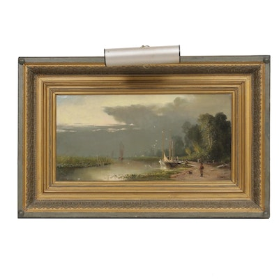 John Jay Barber River Landscape Oil Painting