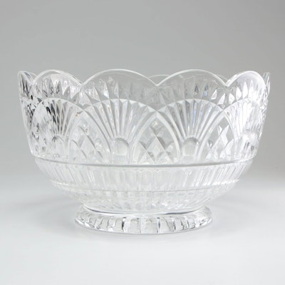 Pressed Glass Punch Bowl with Scallop Rim