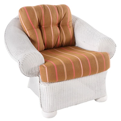 Lloyd Flanders Wicker Rolled Arm Chair, Late 20th Century
