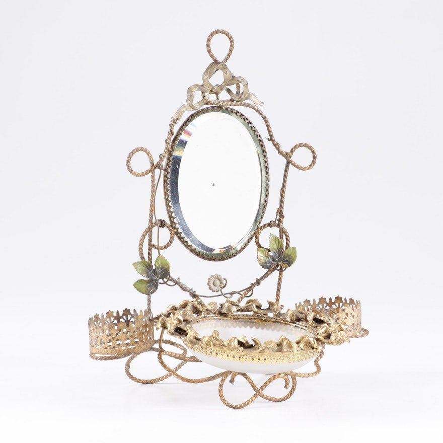Victorian Period Tole and Gilt Tabletop Vanity Mirror
