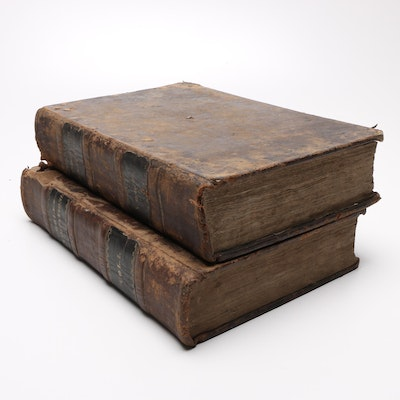"""1688 """"Annotations Upon the Holy Bible"""" by Matthew Poole, Two Volumes"""