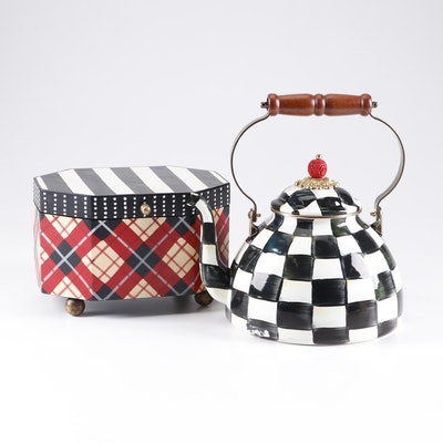 "MacKenzie-Childs ""Courtly Check"" Tea Kettle and ""Marylebone"" Box"