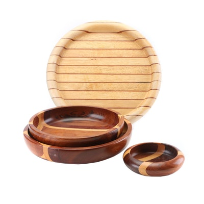 Malacca Woodwork Serving Bowls and Tray