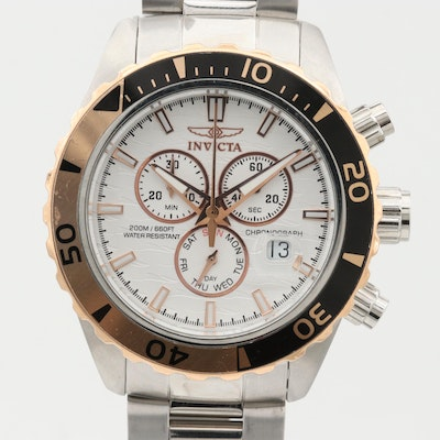 Invicta Pro Diver Stainless Steel Chronograph Wristwatch With Date Window