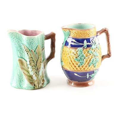 Majolica Pitchers with Open Rose and Lily of the Valley Decoration, 19th Century