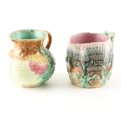 Majolica Pitchers Featuring Griffen, Smith & Hill, 19th Century