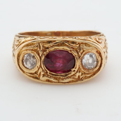 Art Nouveau 18K Yellow Gold Ruby and 1.20 CT Diamond Ring