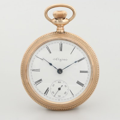 Vintage Elgin Gold Filled Open Face Pocket Watch