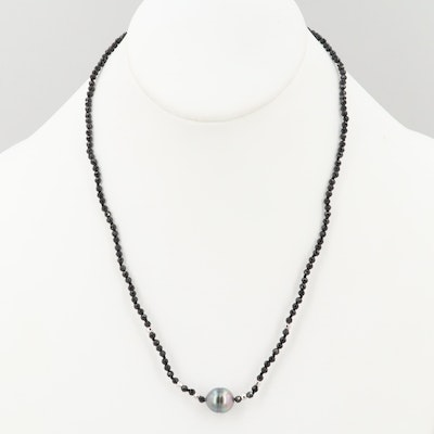 Sterling Silver Black Onyx and Cultured Pearl Beaded Necklace