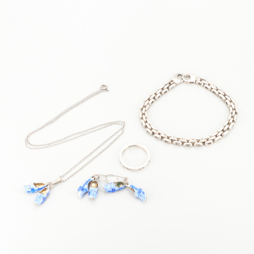 835 Silver and Sterling Enamel Jewelry with Delft Style Earrings and Necklace