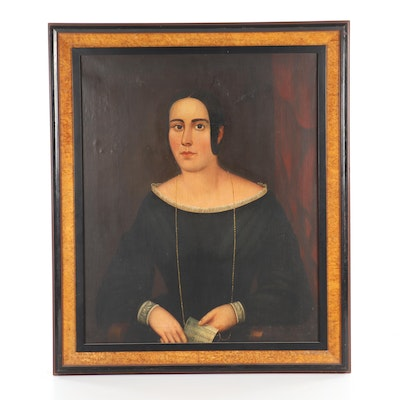 19th Century American School Oil Painting Portrait of a Woman
