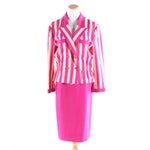 Louis Féraud Wool Two-Piece Suit in Fuchsia and Beige