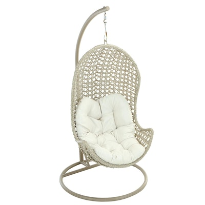 Contemporary Metal and Resin Wicker Hanging Patio Chair