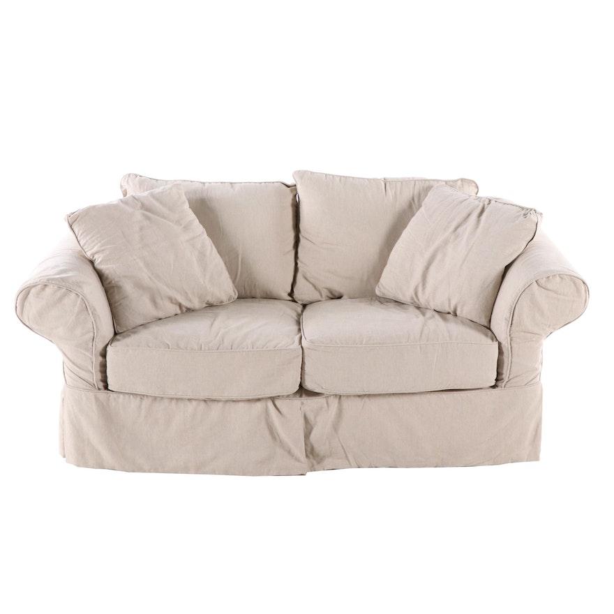 Awesome Ballard Design Linen Slipcover Loveseat Contemporary Machost Co Dining Chair Design Ideas Machostcouk