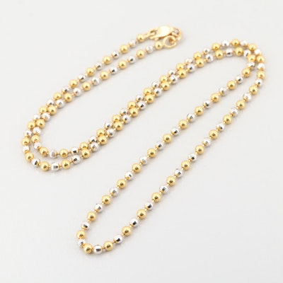18K Yellow and White Gold Beaded Necklace