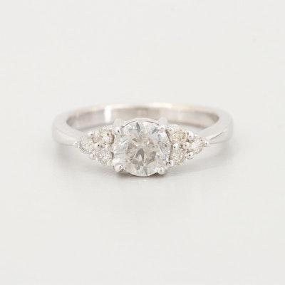 18K White Gold Synthetic Diamond and Diamond Ring