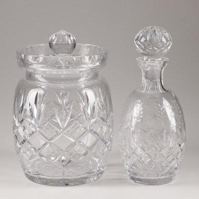 "Rogaska ""Gallia"" Decanter and Ceska Crystal ""Tradition"" Cookie Jar"