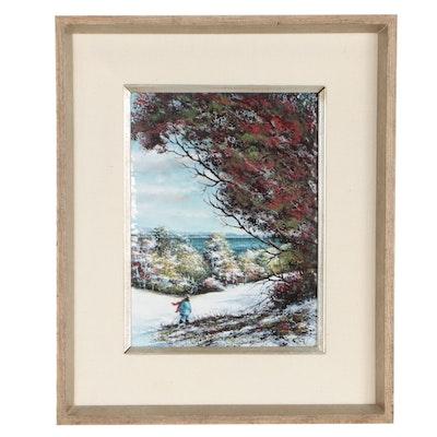 Charles Parthesius Enamel Landscape Painting