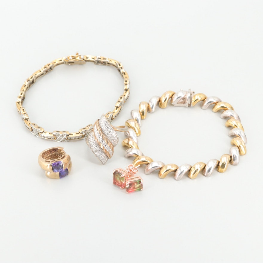 Gold and Rose Wash on Sterling Silver Jewelry with Assorted Gemstones