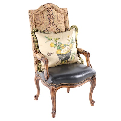 Contemporary Fruitwood High-back Chair, Late 20th Century
