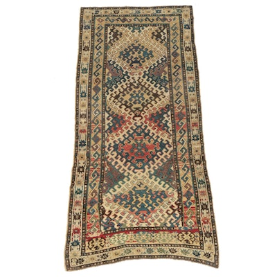 Hand-Knotted Persian Kurdish Wool Long Rug