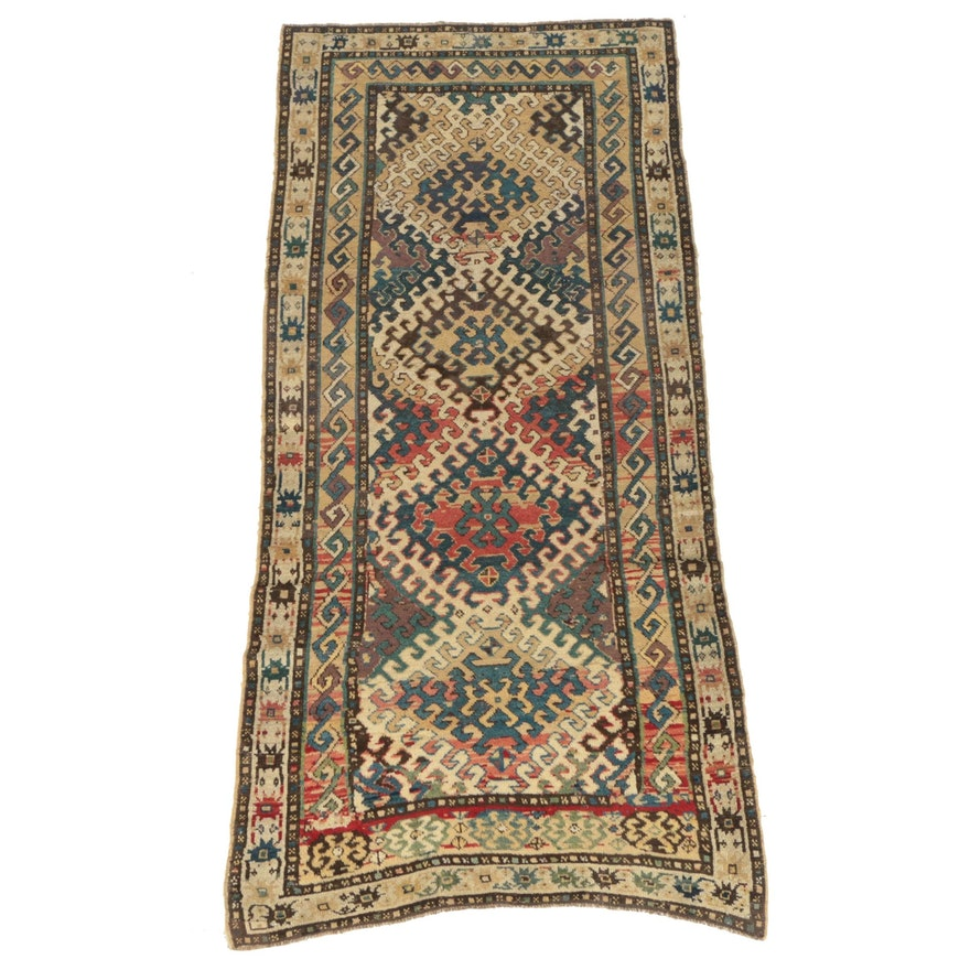 Hand-Knotted Persian Kurdish Wool Long Rug