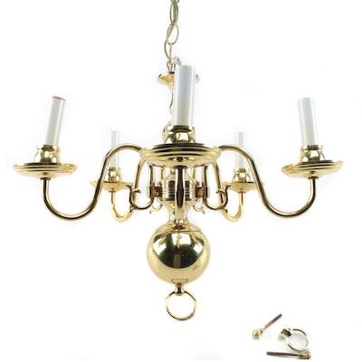 Colonial Revival Brass Five-Arm Chandelier