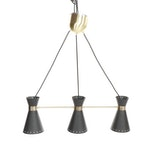 Black Metal Ceiling Light with Brass Accents Attributed to Langley Street