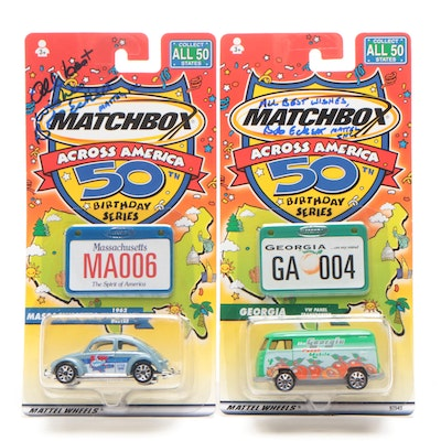 "Bob Eckert Mattel Executive Signed Matchbox ""50th Birthday Series"" Boxed Cars"