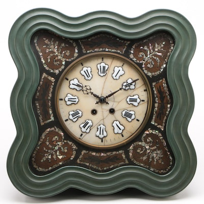 French Napoleon III Wall Clock with Tessellated Abalone Inlay, Late 19th Century