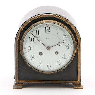 Tiffany & Co. French Black Slate and Brass Mantel Clock