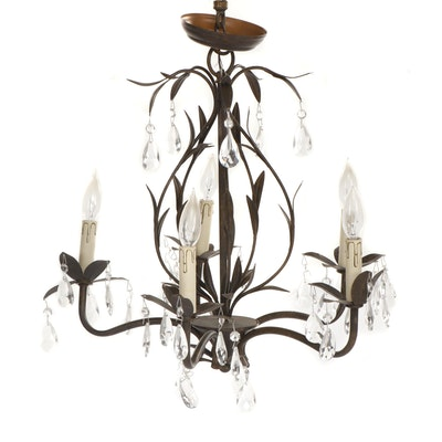 Tole Five Arm Metal Chandelier with Crystal Pendants
