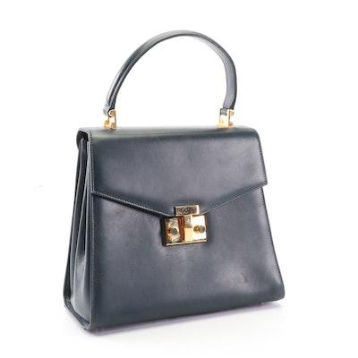 Tiffany & Co. Navy Blue Leather Flap Front Top Handle Handbag