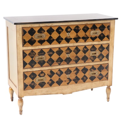 Harlequin Diamond Paint Decorated Chest, Late 20th Century