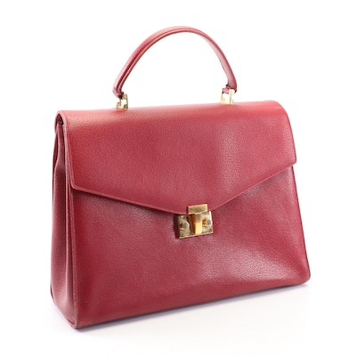 Tiffany & Co. Red Grained Leather Flap Front Convertible Handbag