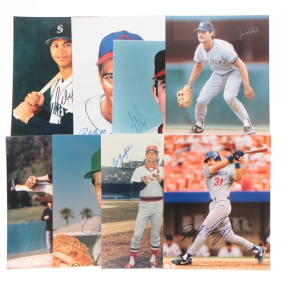 Eight Baseball Autographed Photo Prints, Includes Hall of Fame Players