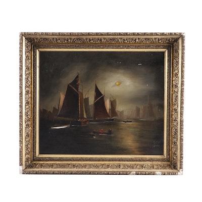 Nocturnal Harbor Scene Oil Painting
