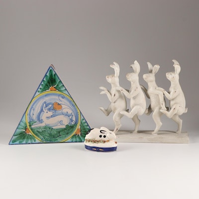 Rabbit Themed Decor Including Hand-Painted Wall Plaque and Staffordshire Figure