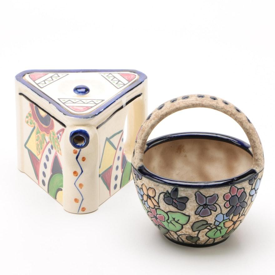 Czechoslovakian Amphora Bowl with Japanese Art Deco Lidded Teapot