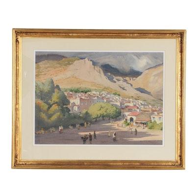 Edmond J. Fitzgerald Watercolor Painting of Mountainous Western Landscape