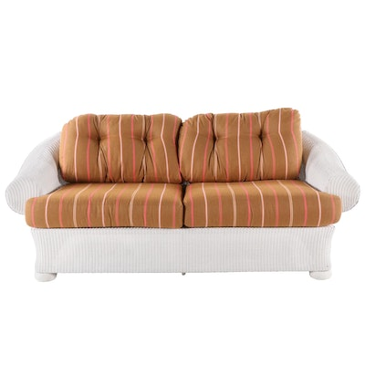 Lloyd Flanders Wicker Sofa with Rolled Arms, Late 20th Century