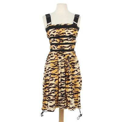 Dolce & Gabbana D&G Leopard Print Corset Dress with Drawstring Hem