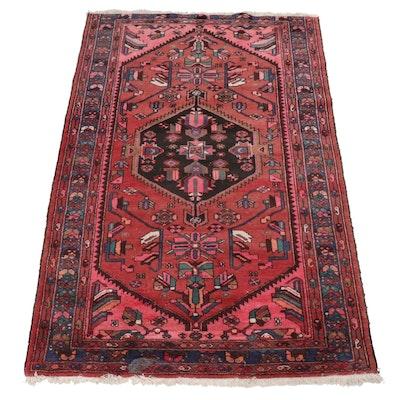 Hand-Knotted Persian Hamadan Wool Rug, Circa 1980