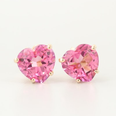 14K Yellow Gold Synthetic Corundum Stud Earrings