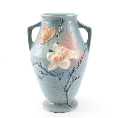 "Roseville Pottery ""Magnolia"" Blue Vase, 1940s"